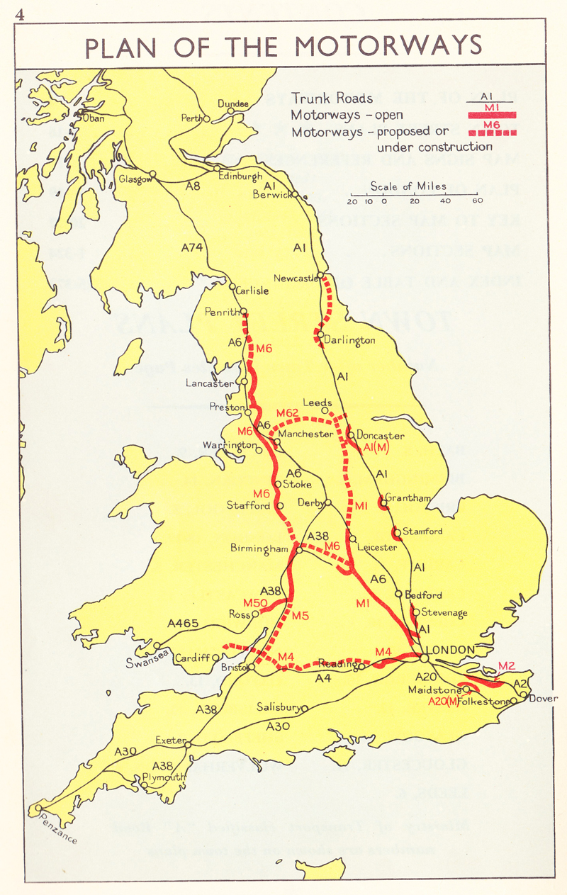 Plan of UK Motorways 1964