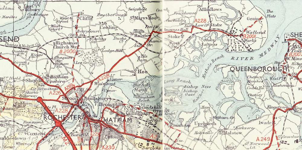 Map showing the new M2 opened in Kent 1964