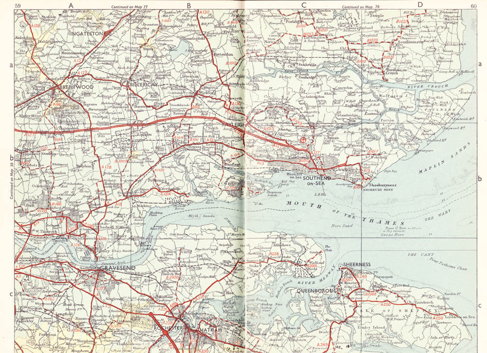 Map of M2 motorway 1964