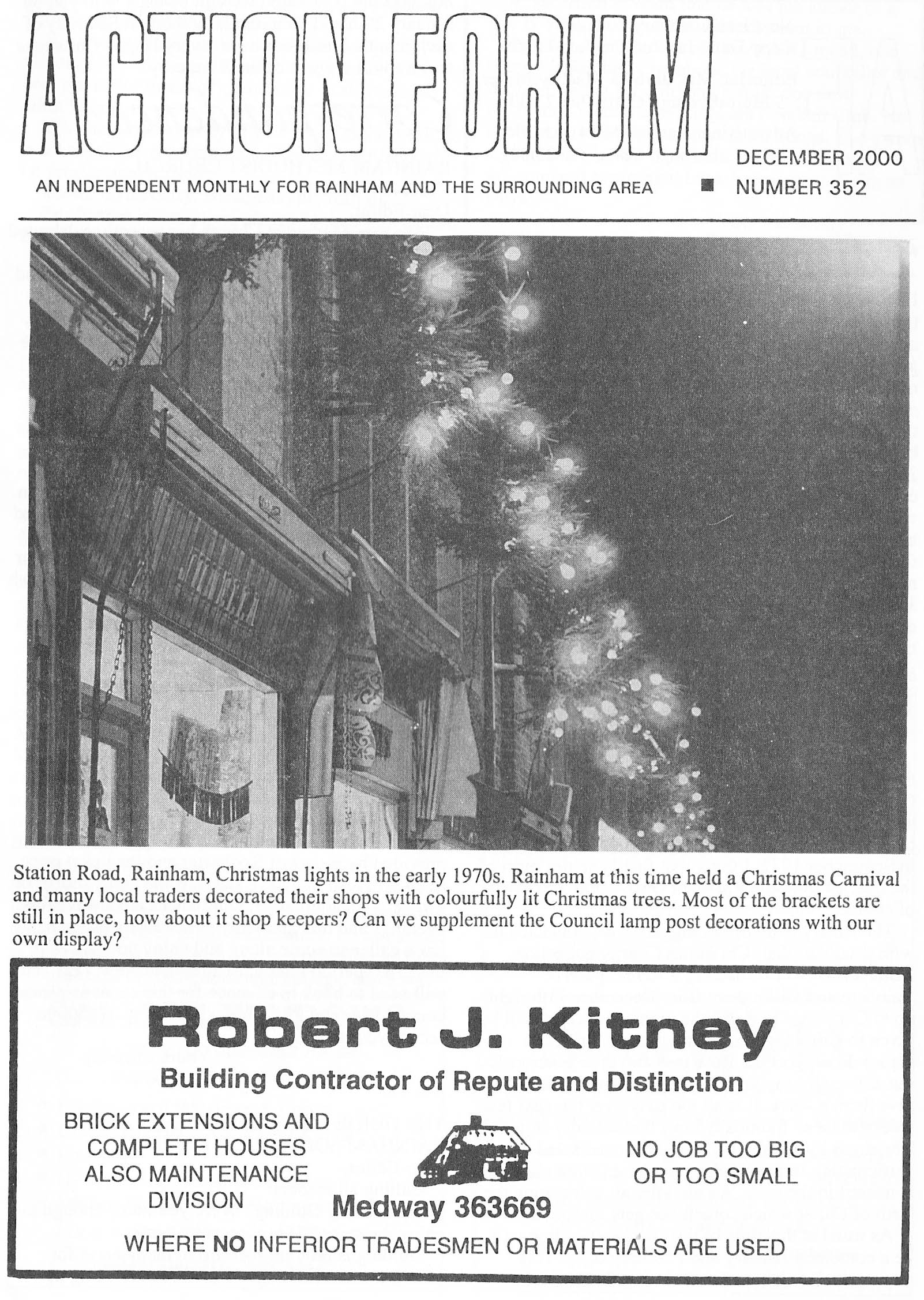 Cover photo of Rainham Christmas lights in 1970s