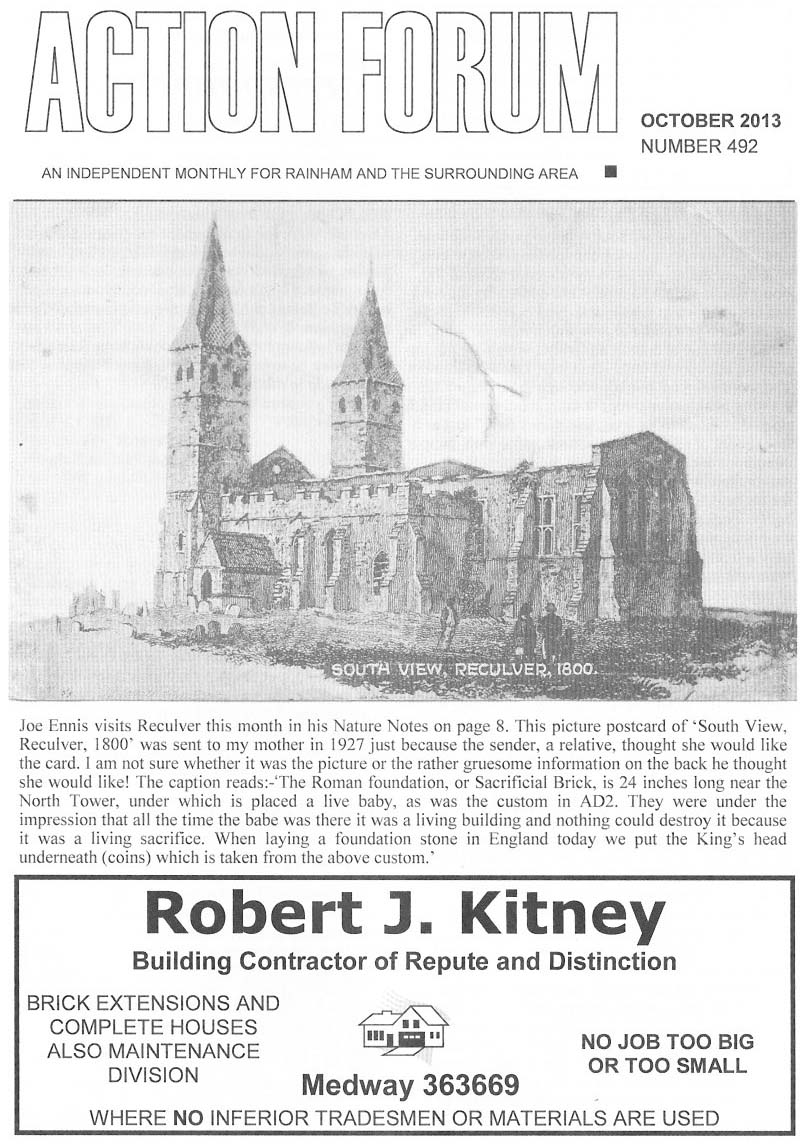 Cover picture - drawing of Reculver Towers Kent in 1800