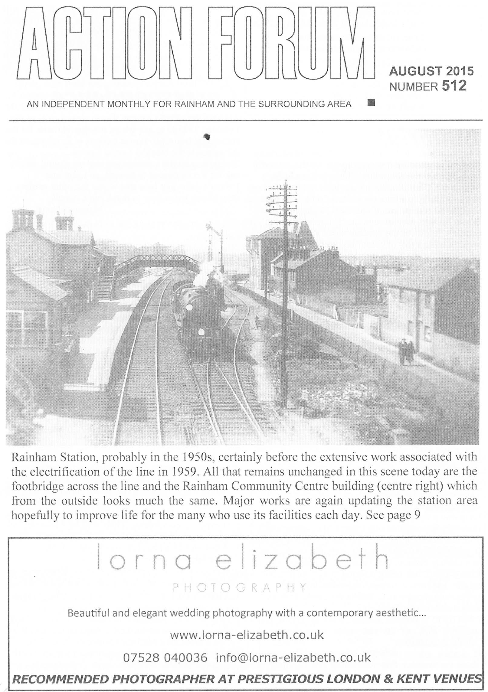 Cover photo of Rainham station in the 1950s.