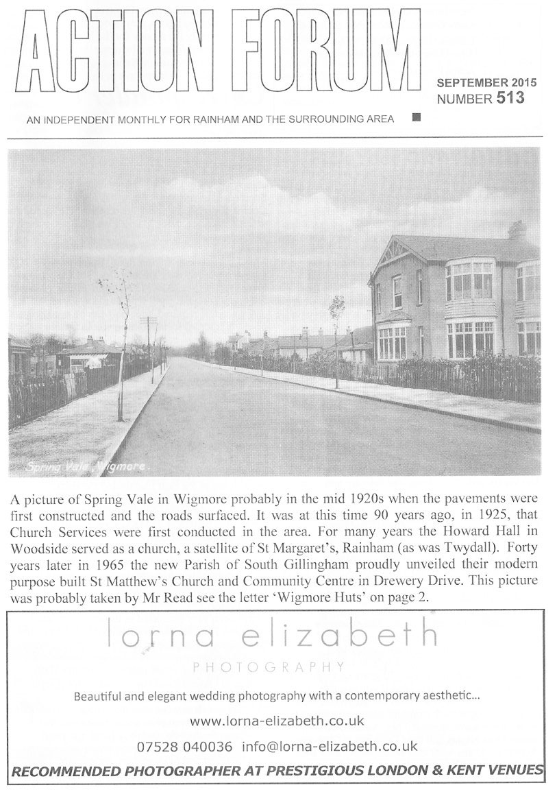 Cover photo of Rainham in 1915 as those mentioned in David Wood's article about the First World War would have known it.