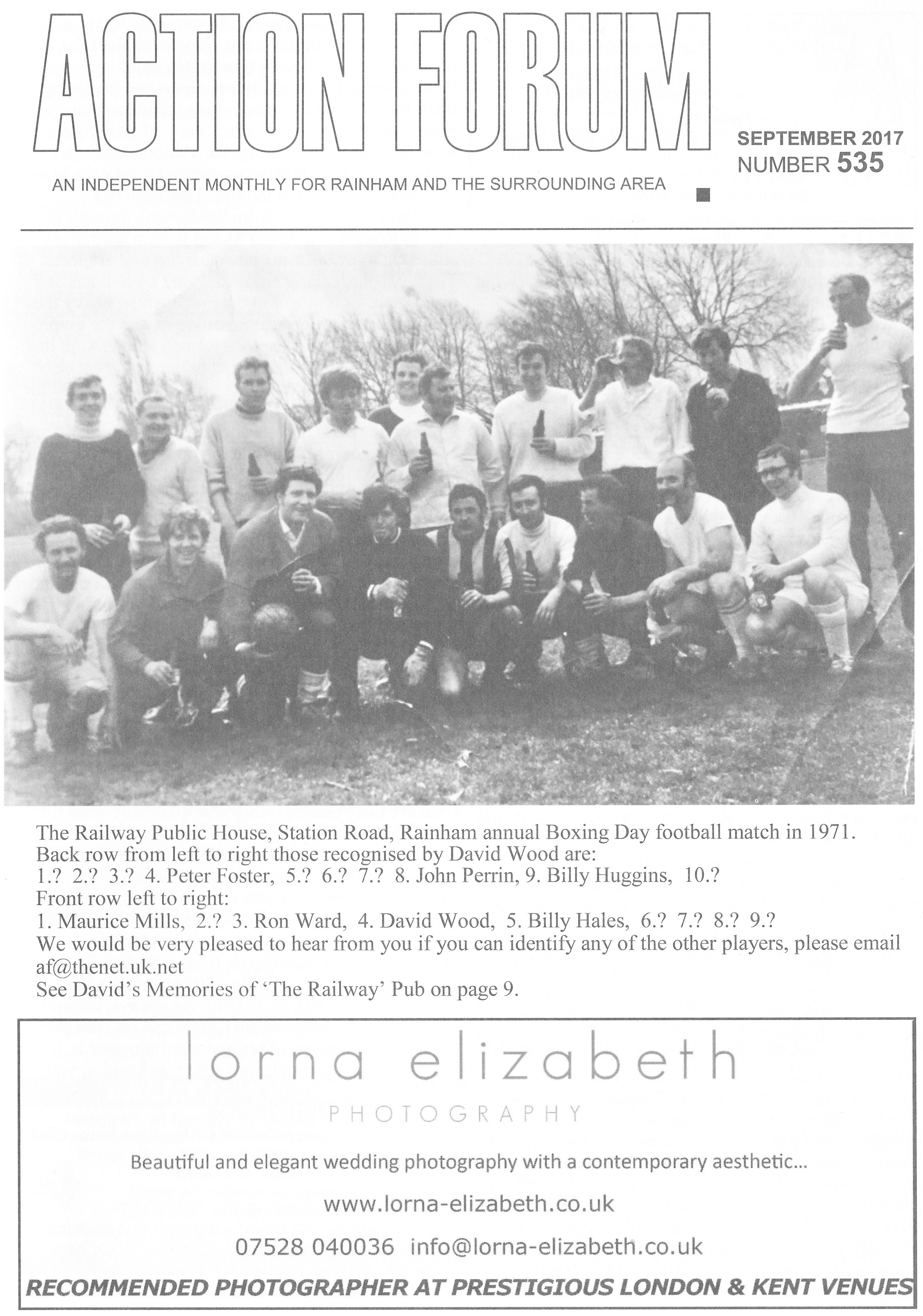 Cover photo of Railway Pub Football team in 1971