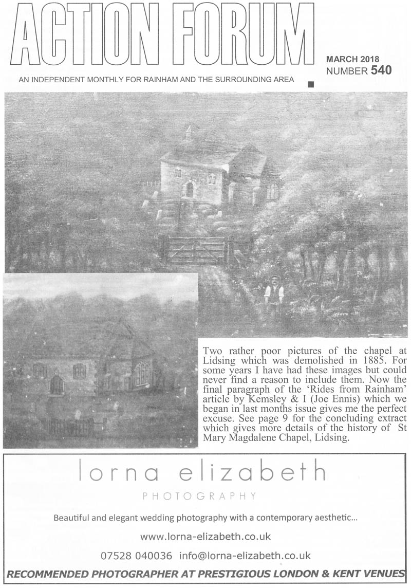 Cover photo of Lidsing chapel demolished in 1885