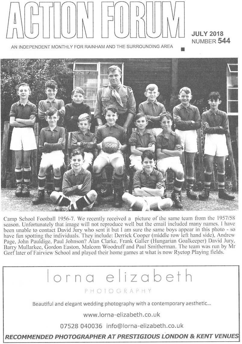 Cover photo of Camp school football team 1956-57