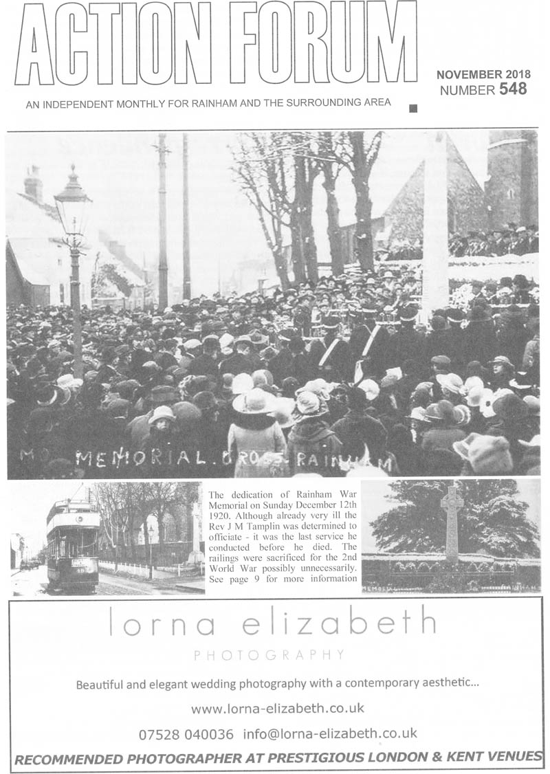 Cover photo of Rainham War Memorial in 1920