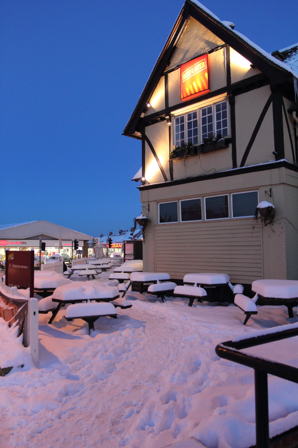Manor Farm Beefeater Pub Restaurant in snow 2010