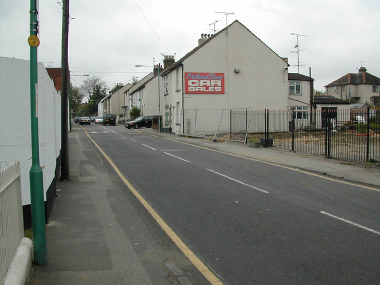 Orchard Street Car sales site looking towards school