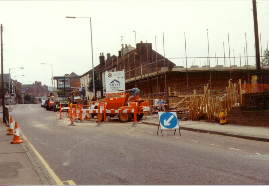 Photo of Station Road Rainham Kent 1996 looking towards Rainham station with Caversham Close under construction