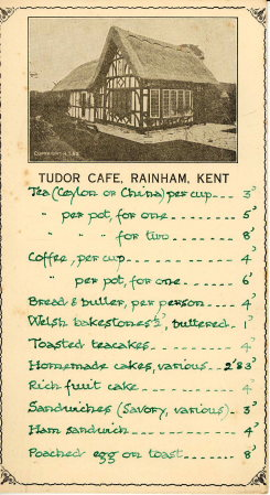 Tudor Cafe Menu Rainham Kent 1938
