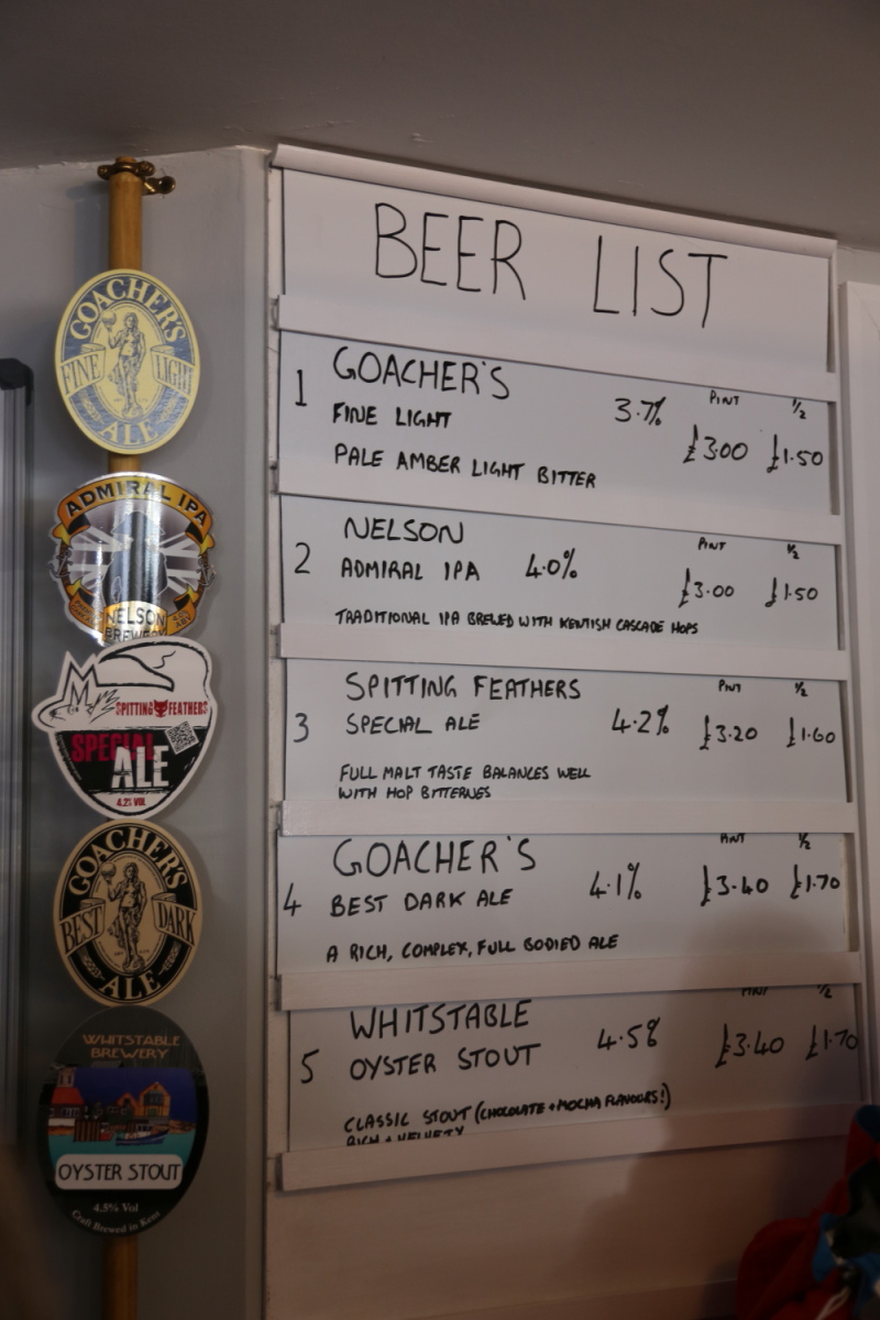 Beer list from Prince of Ales