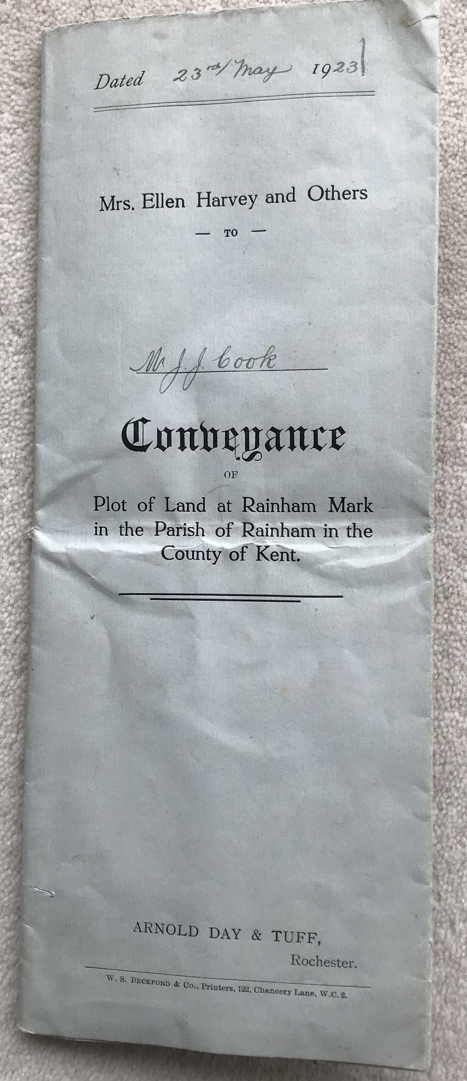 Conveyance document Marshall Road 1923