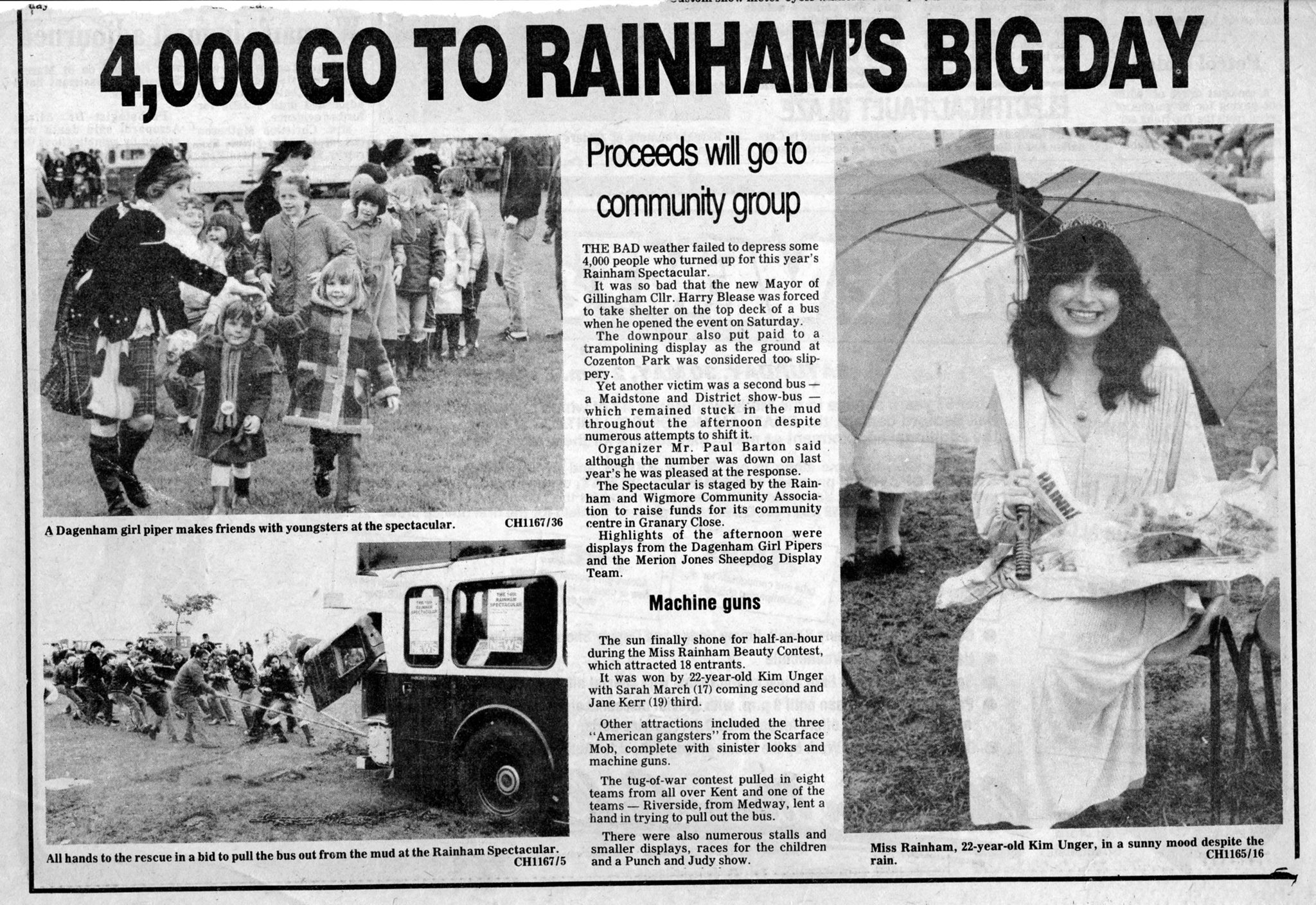 Newspaper clipping of Rainham spectacular from 1981
