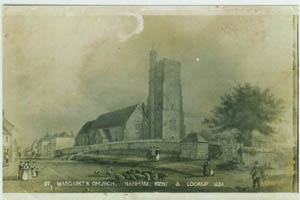 Old Photo of St Margarets Church Rainham Kent 1834