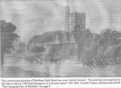 Old Photo of St Margarets Church Rainham 1800