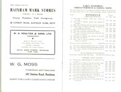 Programme for Rainham Horticultural Society Show 1957