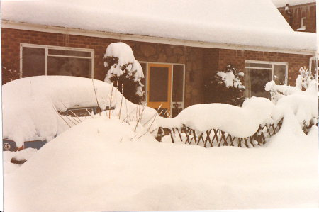 Marshall Road Rainham, Snow drift 1987 Kent
