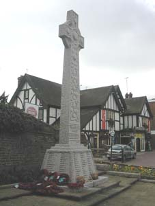 Rainham War Memorial facing towards Cricketers Pub Photo 2003